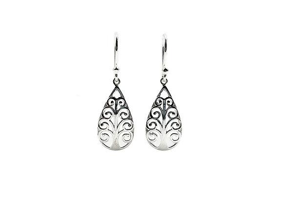 The Oval Alpine Tree 925 Sterling Silver Drop Earrings