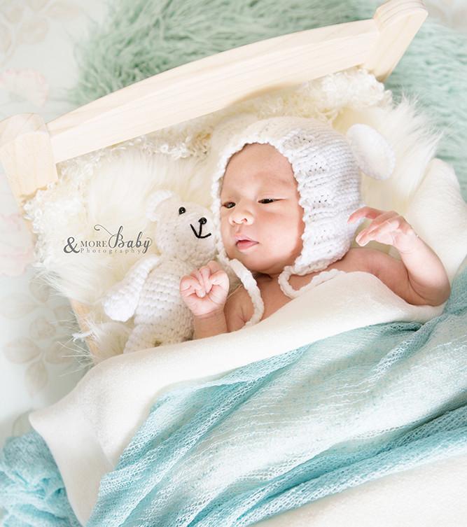 撮影小物/赤ちゃんベッドとクマさんのヌイグルミ/赤ちゃんモデル募集