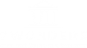 """7 Wonders Cinema logo, which features text """"7 Wondes Cinema,"""" film to denote it is a video production house, and the roman numerals 7, in the form of an old building."""