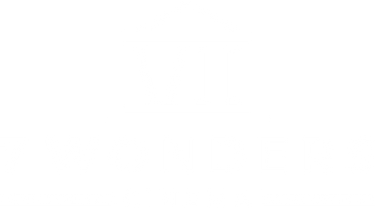 "7 Wonders Cinema logo, which features text ""7 Wondes Cinema,"" film to denote it is a video production house, and the roman numerals 7, in the form of an old building."