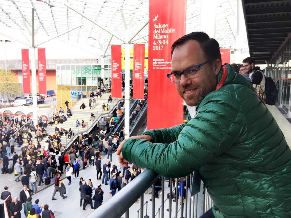 Designer James Treble at Salone del Mobile, Milano