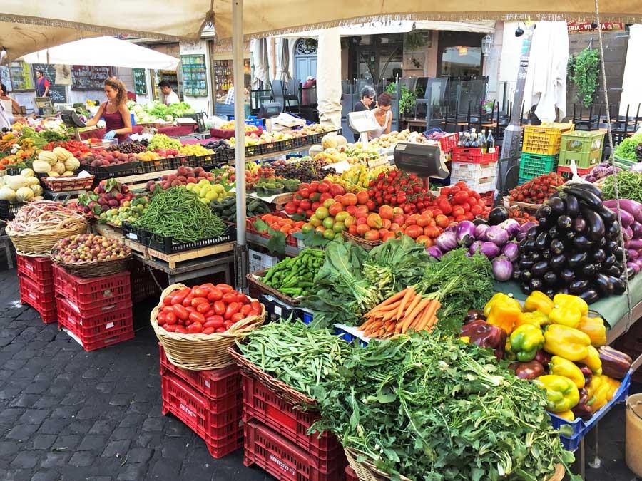 Rome, daily market in Piazza Campo de' Fiori