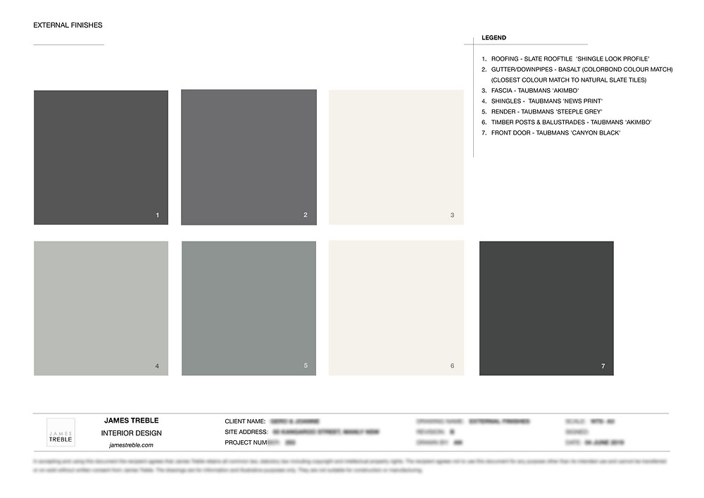 james treble palette for the exteriors of the Taubmans House