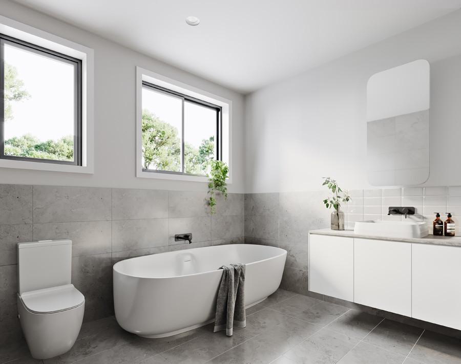 a contemporary bathroom