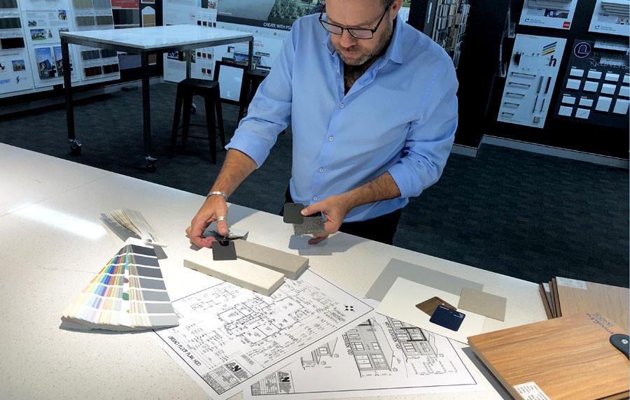 Designer James Treble in his studio