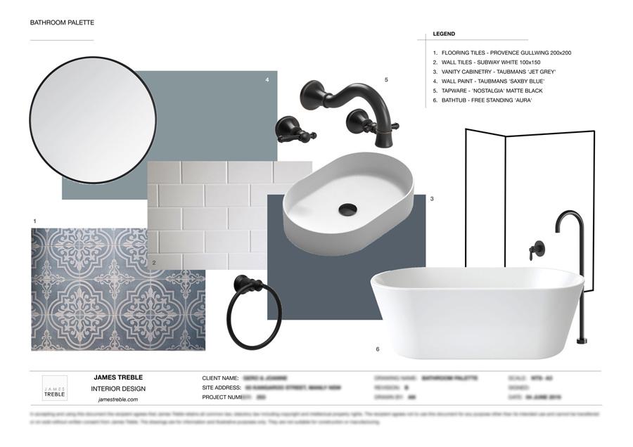 James Treble palette for the new bathroom