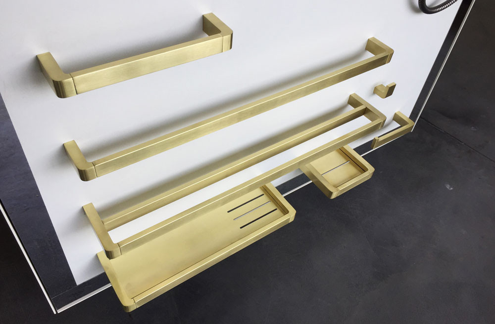 brushed gold finish is back to popular in bathroom accessories