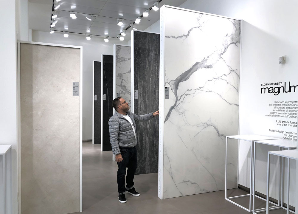James Treble at FLORIM showroom in Milano with extra large size tiles