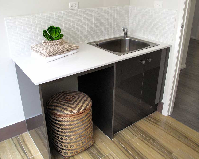 poliurethane cabinet, stone top