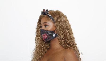 Skeleton & Flower Mask Headband Mask