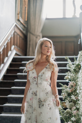 Bride on the Staircase at Ellingham Hall