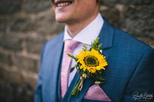 Sunflower Buttonhole on Blue suit