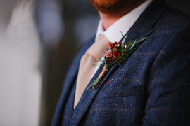 Rustic autumnal buttonhole at Woodhill Hall