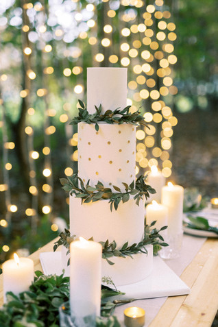 Camp Katur Yorkshire - Wedding Cake with Touches of Foliage