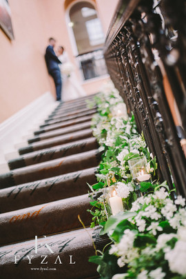 Seaham Hall Staircase flowers