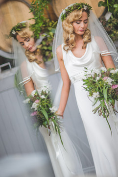 Wylam Brewery Bride in Newcastle, with foliage flower crown