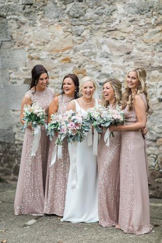 Bride and her Bridesmaids at Doxford Barns Northumberland
