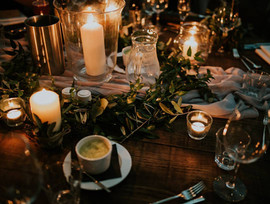 Relaxed greenery and candles at Wlam Brewery Wedding In Newcastle