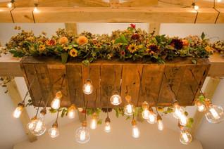 Festoon Lighting Chandelier flowers at DOxford Barns Northumberland
