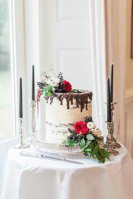 Chocolate Drip Wedding Cake at Eshott Hall Northumberland