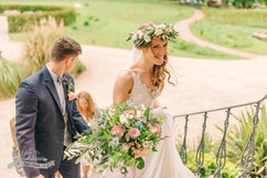 Bride & Her beautiful relaxed bouquet and flower crown at Newton Hall