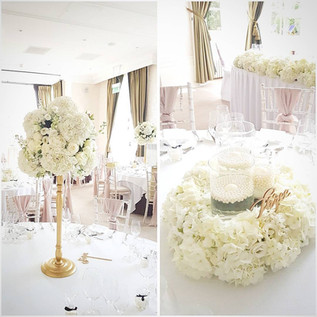 White and Gold, high and low centrepieces at Seaham Hall