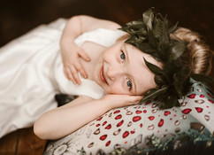 Flowergirl wearing an all foliage flowercrown at Charlton Hall wedding in Northumberland