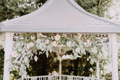 Gazebo wedding flowers at Crook Hall Durham