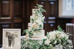 Semi Naked Cake with white flowers and greenery at Jesmond Dene House Newcastle