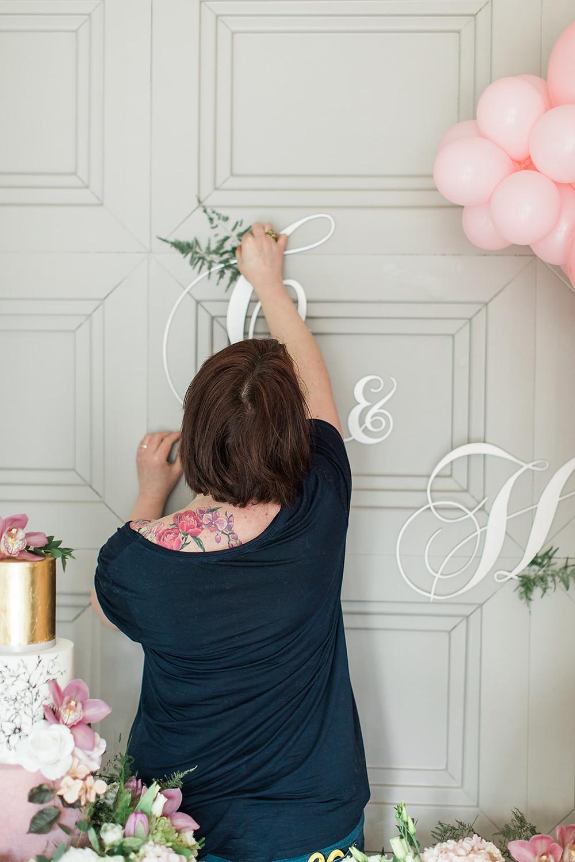 wedding flowers charlton hall florist balloons pink cake  monogram sign