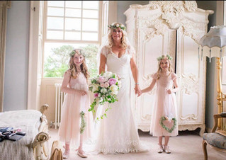 White and Pink Peony Bridal bouquet and Flowergirl Hanging Hearts