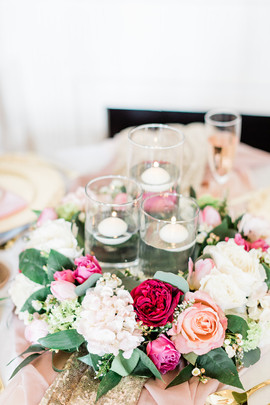 Capheaton Hall Table centrepiece with floating candles
