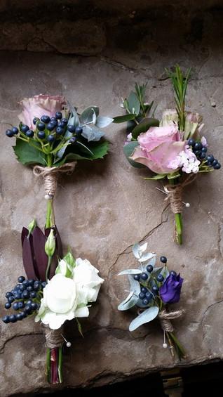 Rustic Buttonholes at Healey Barn Wedding