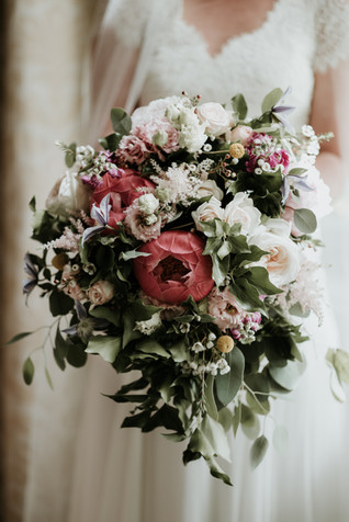 Peach and Coral Bridal Bouquet Flowers at Matfen Hall Northumberland
