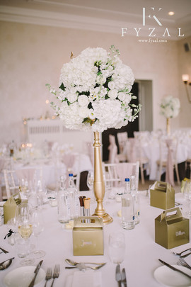 Classic & Sophisticated white wedding flowers Table Centrepiece at Seaham Hall