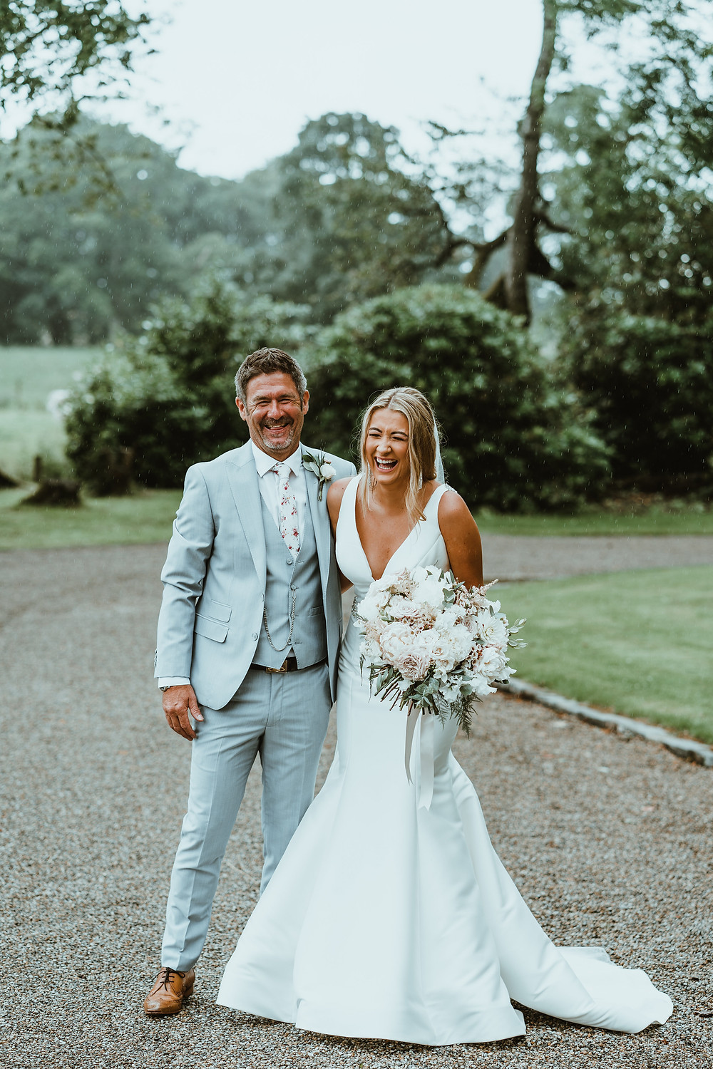 Blush and White luxe loose Bridal bouquet at CHarlton Hall Wedding in Northumberland. Image by Danny Birrell