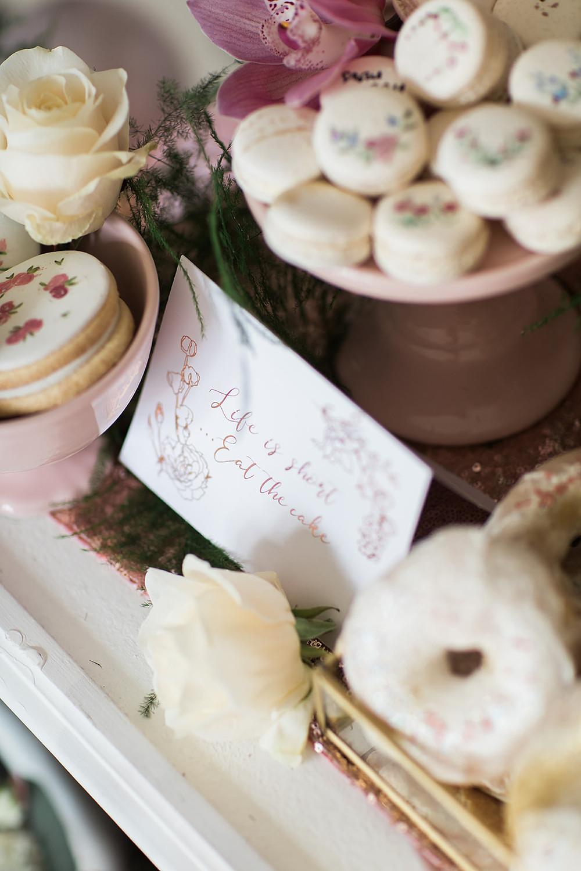 wedding flowers charlton hall florist balloons pink cake stationery biscuits macaron