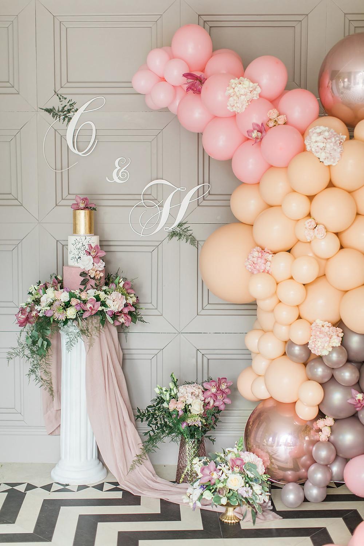 wedding flowers charlton hall florist balloons pink cake monogram luxurious northumberland