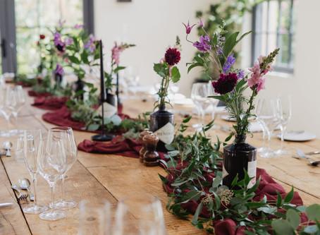 Middleton Lodge Fig House Wedding - Dark Red & Purple Flowers, Black Candles, Foliage,  I'm
