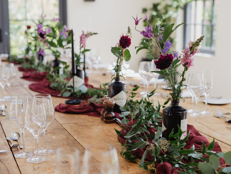 Middleton Lodge Fig House Wedding - Dark Red & Purple Flowers, Black Candles, Foliage,  I'm
