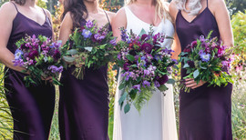 Plum, aubergine, jewel tone Bridal and Bridesmaid Bouquets at Middleton Lodge Fig House in Yorkshire