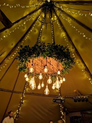 Festoon lighting chandelier at Brinkburn Priory Tipi NOrthumberland