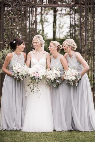Bride and Bridesmaids at Newton Hall Northumberland