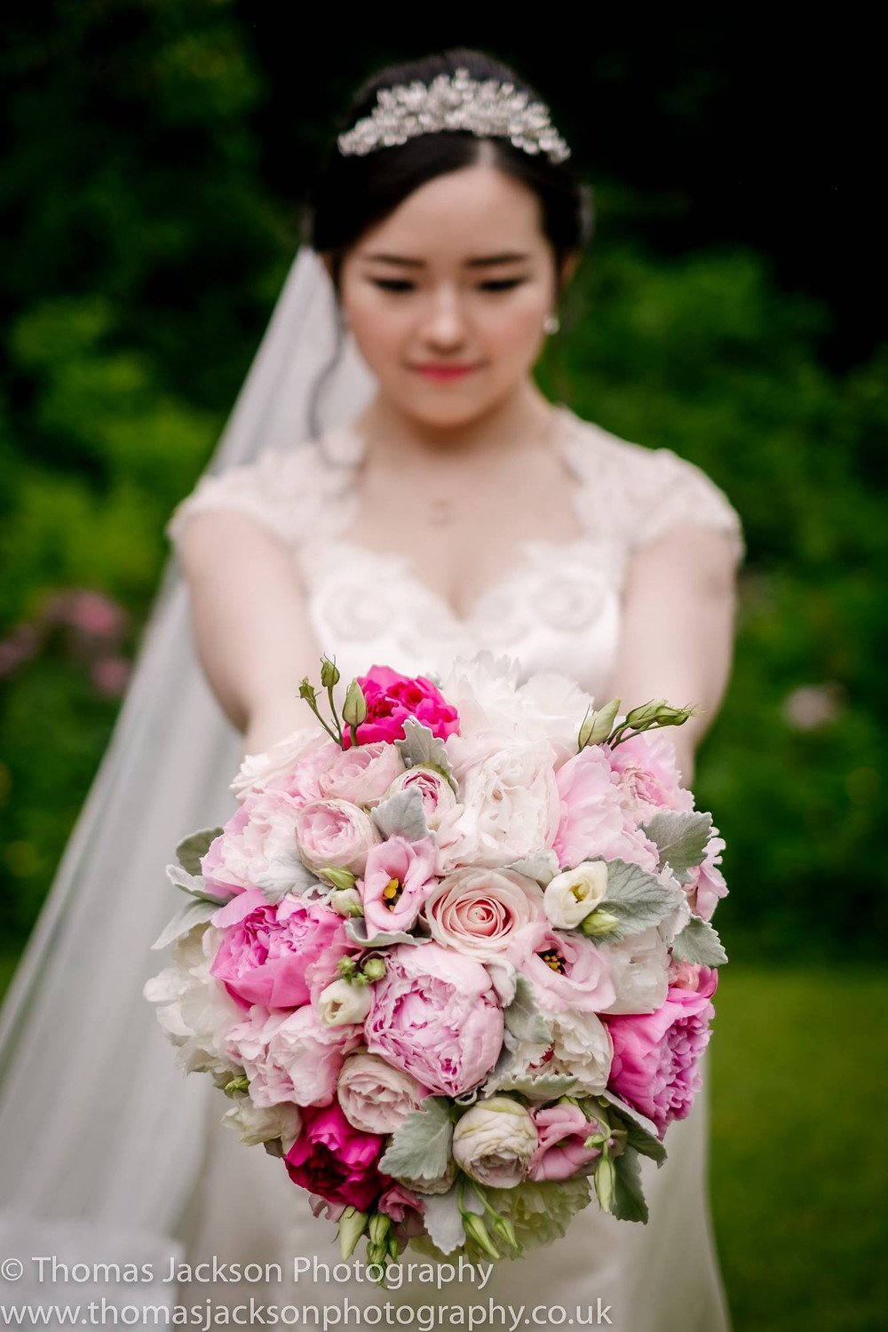 Hand Tied Textured Bridal Bouquet in dark and blush pinks and Peony at Jesmond DEne House Wedding in Newcastle. Image by Thomas JAckson Photography