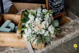White and Blus Peach Bridal Bouquet Flowers at Healey Barn Northumberland