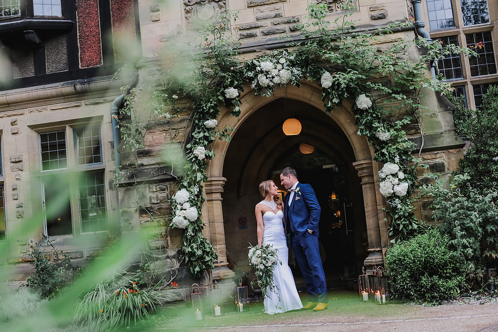 Flower arch at entrance to Jesmond Dene House Newcastle wedding