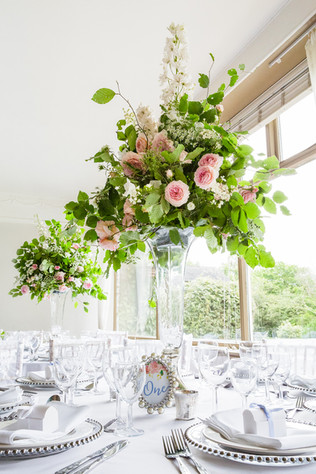 Tall & Pretty centrepieces with locally grown flowers and foliage