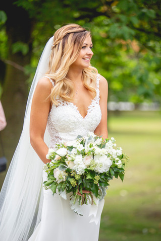 White Gree and blush Bridal Bouquet Flowers