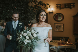 Winter Wedding - White, nude and greenery bridal bouquet at South Causey Inn Old Barn