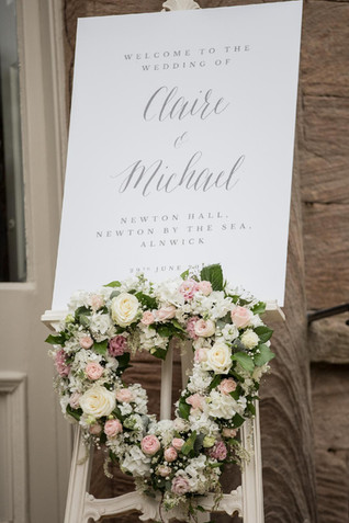 Welcome Sign Floral Heart at Newton Hall